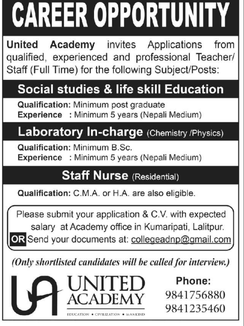 Career opportunity for staff nurse, laboratory in-charge