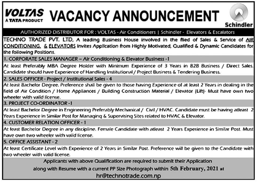 Job for corporate sales manager, sales officer, project coordinator, customer relation officer and office assistant